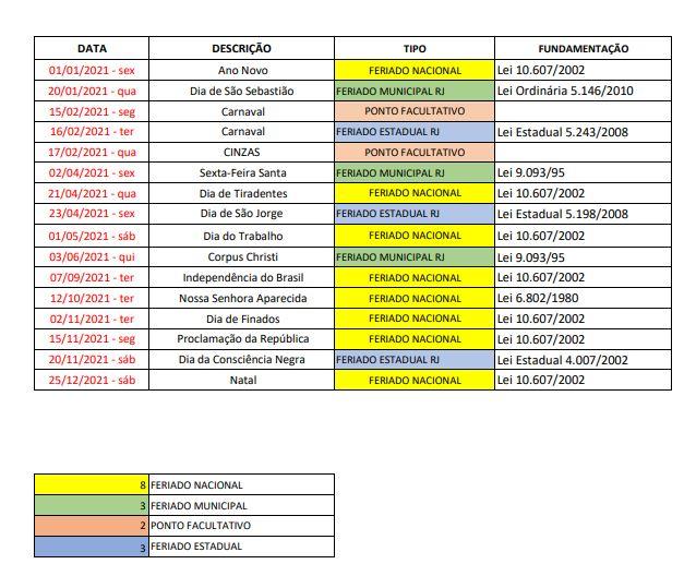 2020 12 14 Feriados No Brasil Calendario 2021 Rj 2