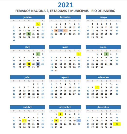2020 12 14 Feriados No Brasil Calendario 2021 Rj
