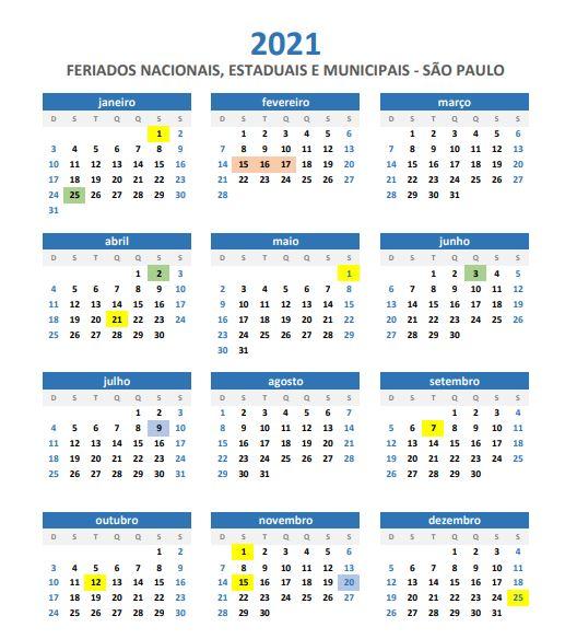 2020 12 14 Feriados No Brasil Calendario 2021 Sp